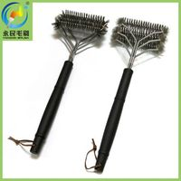 3-in-1 long handle stainless steel BBQ grill cleaning brush thumbnail image