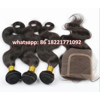 Brazilian Virgin Hair Body Wave Hair Weave 100% Unprocessed Raw Human Hair Extension with Closures thumbnail image