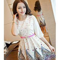 Spring Fashion Three Quarter Sleeve Printing Dress (With Belt)