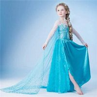 Hot Baby Girl Dress Elsa vestido blue long sleeve princess dress Kids part clothes Costumes Baby gir