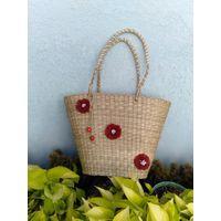 Straw Bag, Tote Bag Beach, Beaded Crochet Bags, Water Hyacinth Bag thumbnail image