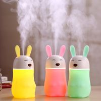 Newest designer 180ml lovely small rabbit electric usb air humidifier with 7 LED color night light