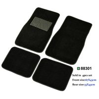 universal fit carpet car floor mat 4 pcs with PVC heel pad