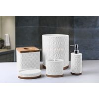Modern style Sand resin with wood base 5pcs set bathroom accessories