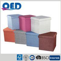 Linen-like Fabric Storage Ottoman Bench