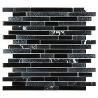 Glass stone mixed mosaic interlock electroplate black
