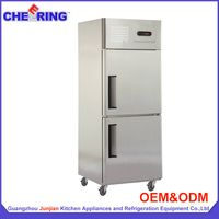 stainless steel upright refrigerator and freezer