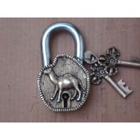 Antique Brass Pad Lock with Camel Figure