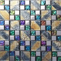 Iridescent Mosaic Tile Plated Crystal Glass Backsplash Kitchen Designs Bathroom Wall Tiles