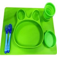 Toddler Placemat + 2 Spoons BPA Free Silicone Plate Set