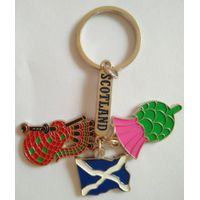 The joining together of four metal key chain,keyring