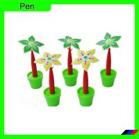 Plastic Flower pot shape ballpoint desk pen for promotional/gift