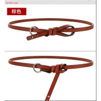 Fashion Women Lady Waistband PU Leather Thin Skinny Belt Metal Buckle Belt