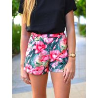 flower print woman beach shorts