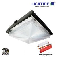DLC premium 90W LED Garage canopy lights with 90 min. Emergency Backup, 100-277vac, 5 yrs warranty