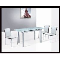 B-C-18,the latest extendable dinner table ( tempered glass and aluminium tubes)