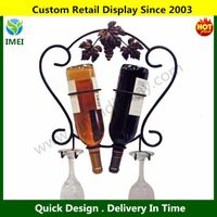 NEW Wall Mount Metal Wine Bottle Storage Rack, 2 Glass Iron Display Holder Black
