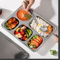 304 Stainless Steel Dinner Plate - 5 in 1 Compartment Tray