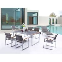 outdoor furniture brushed aluminum PE rattan and textilene fabricdining chairs and plastic wood tabl