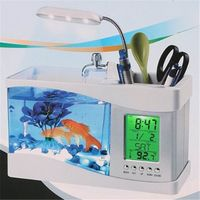 KangWei KW2010B dsktop LED LCD clock plastic fish tank mini aquarium