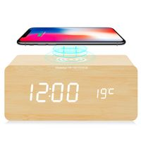 2020 New Desk Wireless Charger Digital Wooden Alarm Clock With Temperature Display thumbnail image