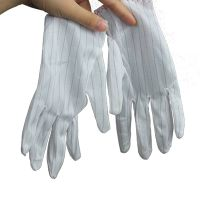 Conductive Fiber Polyester Fabric Anti Static Glove No Streak No Dust