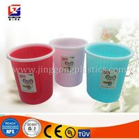 pure color plastic round trash can /Waste container/ash-bin for home use
