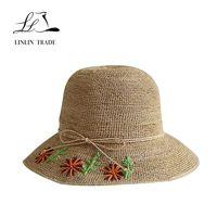 Handmade customized floppy raffia straw hat madagascar women fashion hat