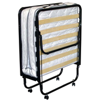 Folding bed size 80X200 cm, metal structure, with wheels, included with mattress H. 11 cm, 80 x 200