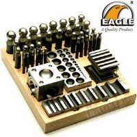 """DAPPING SET  1 Steel Doming Block 2.5"""" x 2.5"""" x 2.5"""" which has 21 Depressions 1 Steel Forming & Groo"""
