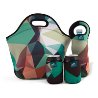 Insulated Extra Large Neoprene Lunchbox Tote Lunch Bag Set: Tote + Bottle Sleeve + 2 Can Insulators thumbnail image