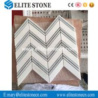 Thassos White 1x4 Chevron Mosaic Tile with Lines Polished - Marble from Greece