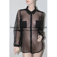 2014 hot sale women sex clothing long sleeve two front pockets french terry shirting mesh tops