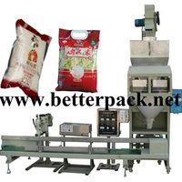 automatic beans sugar rice weighing bag filling sealing packing line