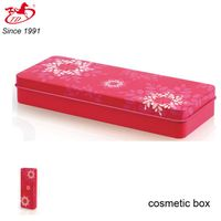 Red flower pattern rectangle cosmetic tin box for sale