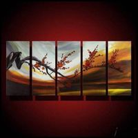 Free shipping 100% hand-painted 5 pieces wall art home deco Peach branches orange flowers oil painti