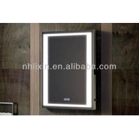 Frosted Sides Wall Mounted Mirror With Clock