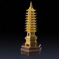This wen chang pagoda for fengshui Was Molded Using Lost-Wax method and 24k gold leaf finish