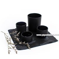 matte black small size glass candle holder and natural slate coaster thumbnail image