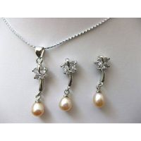 Pink Pearl Round Cz Necklace Earrings Set 563