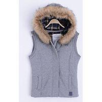 Ladies Cotton Vest with Hood's Edge Fur Trim