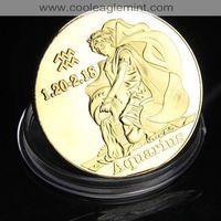 CookIslands Aquarius Zodiac Sign Colorized Coin 61