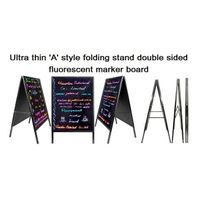 Ultra thin 'A' style folding stand double sided fluorescent marker board