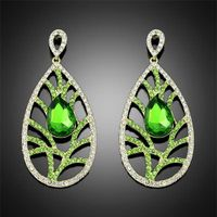 wholesale jewelry 2014 new fashion white green plated crystal rhinestone alloy dangle earrings for w thumbnail image