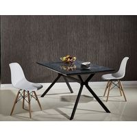 Strong Structure MDF Top Powder Coated Metal Legs Dining Table