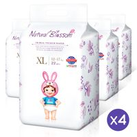 Natural Blossom - Baby Disposable Diapers Hypoallergenic for Sensitive Skin, Size 5 / XL (26-37 lbs)