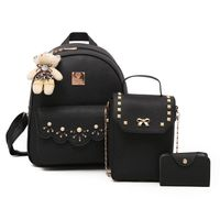 Waterproof arrow double back 3 pieces backpack bag PU leather women bag