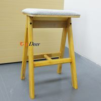 Good quality high yellow comfortable wood display stool for huawei store experience thumbnail image