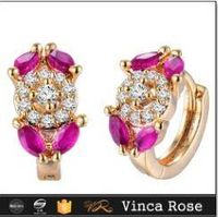 New fashion glittering red beautiful brass  earrings for girls