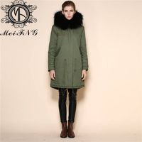 WOMENS LADIES FULLY FUR LINED FISHTAIL KHAKI PARKA COAT